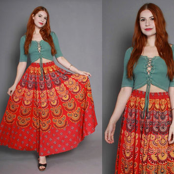 ETHNIC High Waist SKIRT / 1980s Boho India Block Print Maxi