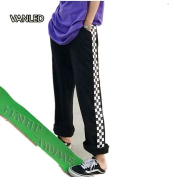 Harajuku Loose Checkerboard Pants Punk Black White Squares Cool Couple Street Trouser