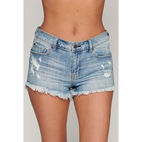 Stay Positive Mid Rise Shorts (Medium Wash)