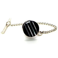 Stripes - Black and White Mother of Pearl Tie Tack – Black and White Tie Tac – Black and White MOP Tie Tac