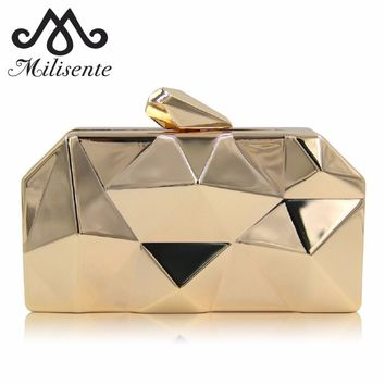 Milisente Women Metal Clutches Top Quality Hexagon Mini Party Black Evening Purse Silver Bags Gold Box Clutch