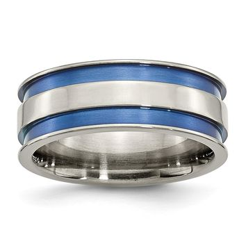 Men's Titanium with Blue Double Groove Polished Wedding Band Ring