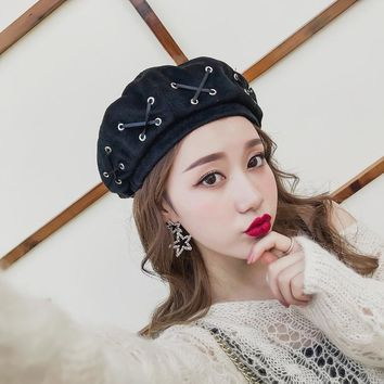 Winter women hats bow tie girl bonnets Woolen fabric Felt Straps Bandage Beret Beanie woman sombrero Fashion Hot solid hat