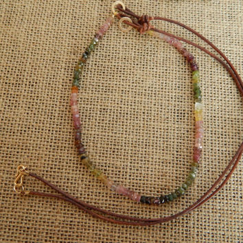 Long Layering necklace, Boho Chic, multicolor necklace,Semiprecious stones, layer necklace, watermelon tourmaline, popular style