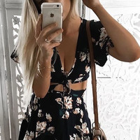 Marilyn Floral Cut Out Dress - Navy