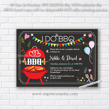 I Do BBQ Invitations, Wedding Shower Invites,  Couples Shower BBQ, Wedding Shower BBQ Chalkboard, Engagement Party, Bridal bbq  - card 574