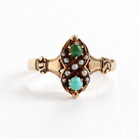 Antique 10k Rose Gold Victorian Green & Blue Turquoise, Seed Pearl Ring- Vintage Late 1800s Size 8.5 Fine Jewelry