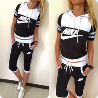"""NIKE"" Fashion Casual Multicolor Letter Print Short Sleeve Hooded Set Two-Piece Sportswear"