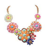 Colorful Floral Bib Statement Metal Flower Necklace