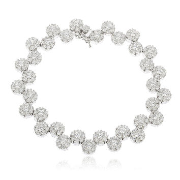 Sterling Silver Iced Out Sunflower Cluster Tennis Bracelet with Cz Stones
