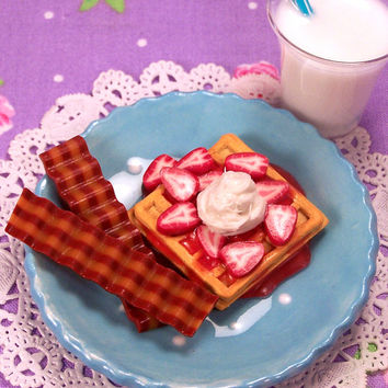 "Strawberry Waffles Delight  - doll food - sized for 18"" dolls like American Girl"
