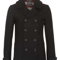 BLACK WOOL BORG PEA COAT - Men's Jackets & Coats - Clothing