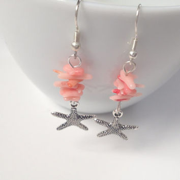 Dollar Days Sale: Coral Shell and Silver Starfish Dangle Earrings
