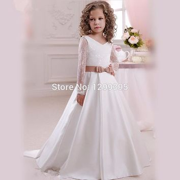 Flowergirl Dresses Ivory White Communion Dress Pageant Ball Gowns For Girls Rustic Lace Flower Girl Dresses Robe Mariage Fille