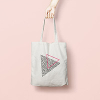 Printed Tote Bag, Market Bag, Cotton Tote Bag, Large Canvas Tote, Funny Grocery Bag, Designer Tote Bag, triangle tote bag, tote bag canvas
