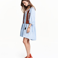 Embroidered Cotton Dress - from H&M