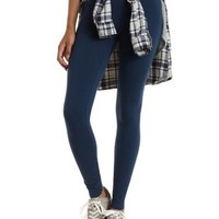 Blue Ankle Length Stretch Cotton Leggings by Charlotte Russe