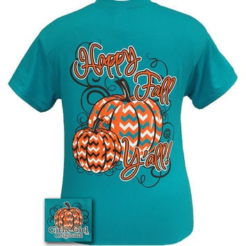 Girlie Girl Originals Happy Fall Yall Chevron Pumpkin Halloween Bright T Shirt