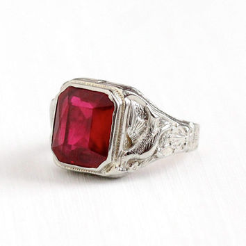 Antique Art Deco 10k White Gold Repousse Bird Created Ruby Ring - Size 9 Vintage 1920s Red July Birthstone Statement Fine La France Jewelry