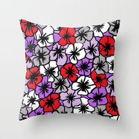 Flower Power (red purple version) Throw Pillow by Sandra Arduini