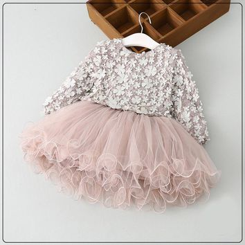High quality Spring Girls petal Dress Baby Girls Princess long sleeve tutu clothing 2-7y toddler girls Clothes summer