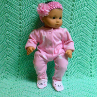 "American Girl BITTY BABY clothes ""Easter Bunny Dreams"" (15 inch) doll outfit with sleeper and headband hair clip butterfly"