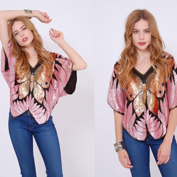 Vintage 80s SEQUIN BUTTERFLY Top Mauve & Copper Vintage Sequin Top SILK Tunic Glittery Trophy Blouse
