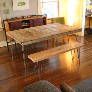 Industrial Rustic Modern Dining Table For Six From Reclaimed Wood With  Steel Hairpin Legs