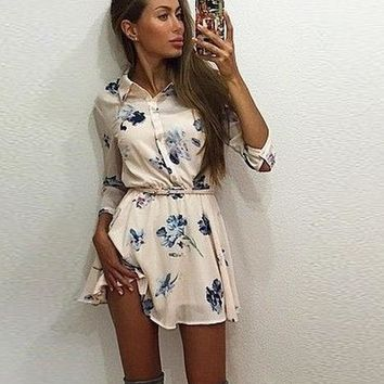 CUTE LONG SLEEVE FLORAL DRESS