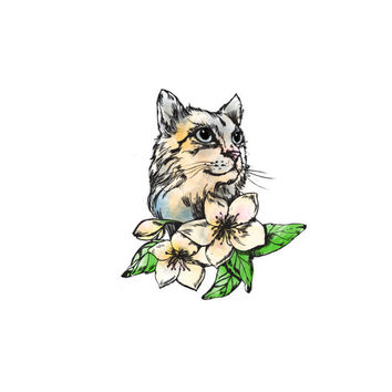 Cat Floral Temporary Tattoo