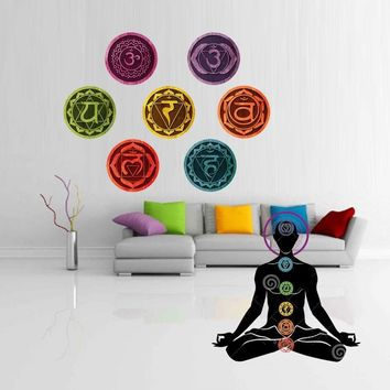 19cm/pcs 7 Piece Chakras Mandala Yoga Wall Sticker For Living Room Om Meditation Symbol Chakra Wallpaper Wall Decals Home Decor