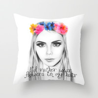 cara's flowers Throw Pillow by Hannah