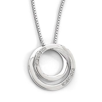 Diamond Double Circle Necklace in Rhodium Plated Silver, 18-20 Inch