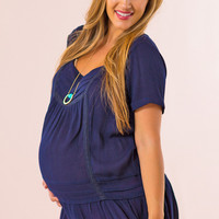 Babydoll Maternity Top in Navy