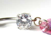 Dangle Belly Button Ring with Pink Swarovski Heart Pendant in Rose AB