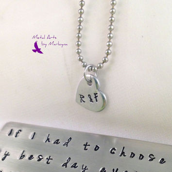 SALE Hand Stamped Necklace Initial Pendant Heart Necklace Pendant Gifts for Dad Fathers Day Gift