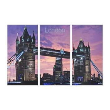 Beautiful London England Tower Bridge at Night Canvas Print