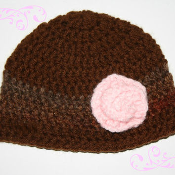 Mocha Latte with Fall Ombre and Pink Rose Beanie 0-3 Months 6-12 Month 1-3 Years READY to SHIP