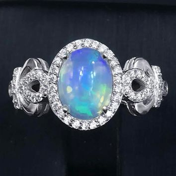 Natural Fire Opal Ring - 925 Sterling Silver