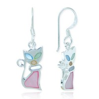 925 Sterling Silver Multi-Colored Mother of Pearl Shell Cat Dangle Hook Earrings