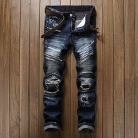 Newsosoo Brand Designer Man Ripped Biker Jeans Pants Fashion Slim Fit Patch Moto Denim Trousers For Male Multi Zipper Patchwork