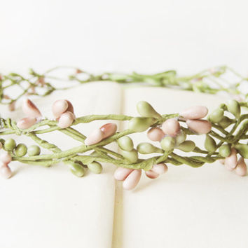 Pip Berry Crown, Rustic Bridal Headpiece, Simple Natural Look Headband, Country Wedding, Woodland, Pink, Romantic, Fairy, Elven, Pip Berries