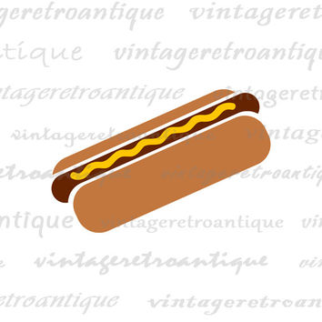Digital Printable Hot Dog Illustration Graphic Image Download Artwork Vintage Clip Art for Transfers Making Prints etc HQ 300dpi No.4025