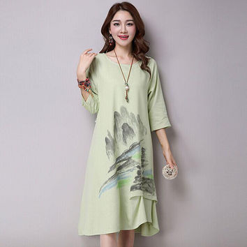 New Arrival 2016 Spring And Summer Fashion Natural Landscape Print Cotton Linen Loose Women Casual Long Dresses Plus Size H086