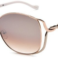 Jessica Simpson Women'S J451 RGDW Oversized Glam Frame Sunglasses,Rose Gold and White Frame/Gradient Brown Lens,one size