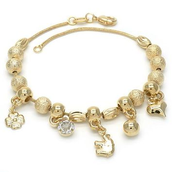 Gold Layered 03.32.0085.07 Charm Bracelet, Heart and Elephant Design, with Black Cubic Zirconia, Matte Finish, Golden Tone
