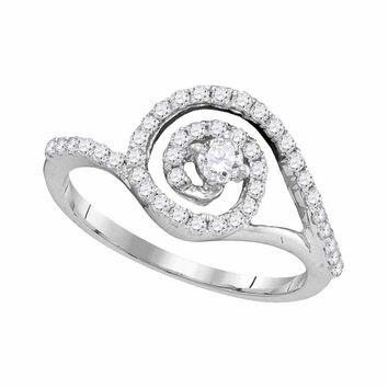 10kt White Gold Womens Round Diamond Solitaire Swirl Bridal Wedding Engagement Ring 1/2 Cttw