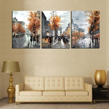 3 Piece Modern Painting Calligraphy Vintage Abstract City Street Poster Arts Oil Paintings On Canvas Prints Home Decor No Frame