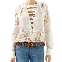 Gucci Broderie Anglaise Cotton Muslin Lace-Up Shirt & Washed Denim Skinny Flare Pant