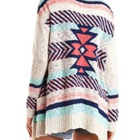 Open Front Aztec Cardigan Sweater by Charlotte Russe - Ivory Combo
